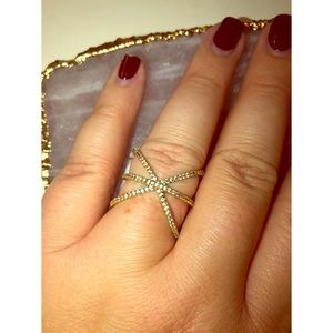 Rose Gold Colored X Cross Ring